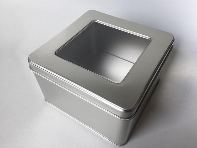 Square tin w/PVC window lid SQW130WX (T)